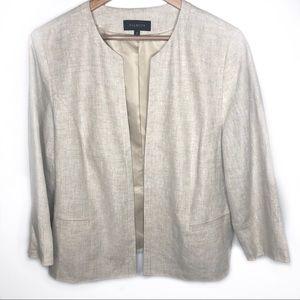 Talbots beige linen blazer size 16